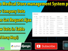 Python Django Medical Store Management Part 16   View Company Data   Axios GET Request in React